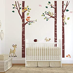 decalmile Large Birch Tree and Forest Animal Wall Decals Owl Squirrel Deer Wall Stickers Baby Nursery Kids Bedroom Living Room Wall Decor (Tree Height: 175cm)