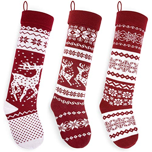 Starry Dynamo Set of 3 Knit Christmas Stockings 26