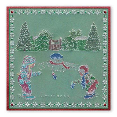 Groovi Parchment Embossing Template ~ Winter Scene Children, GRO40448