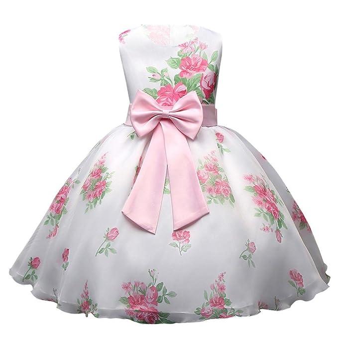 Lenfesh Vestido de boda Bautizo Vestido de Fiesta sin Mangas Flores rosa Vestido de Tul de