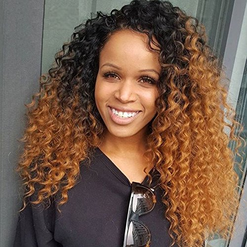 Royal-First Afro Kinky Curly Gluelss 18inch Long Brazilian Virgin Human Hair Lace Front Wigs #1b/#30 Two-Toned Ombre Color for Women 150% Density Medium Cap