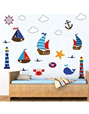 decalmile Pirate Ship and Treasure Island Wall Decals Vinyl Removable Kid's Room Wall Stickers Nursery Bedroom Decoration