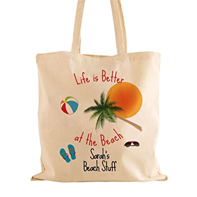 Personalised holiday bag, life is better at the beach gift, 100 ...