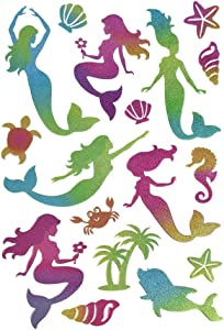 Homeford Ocean Sea Mermaid Glitter Glam Stickers, 17-Piece