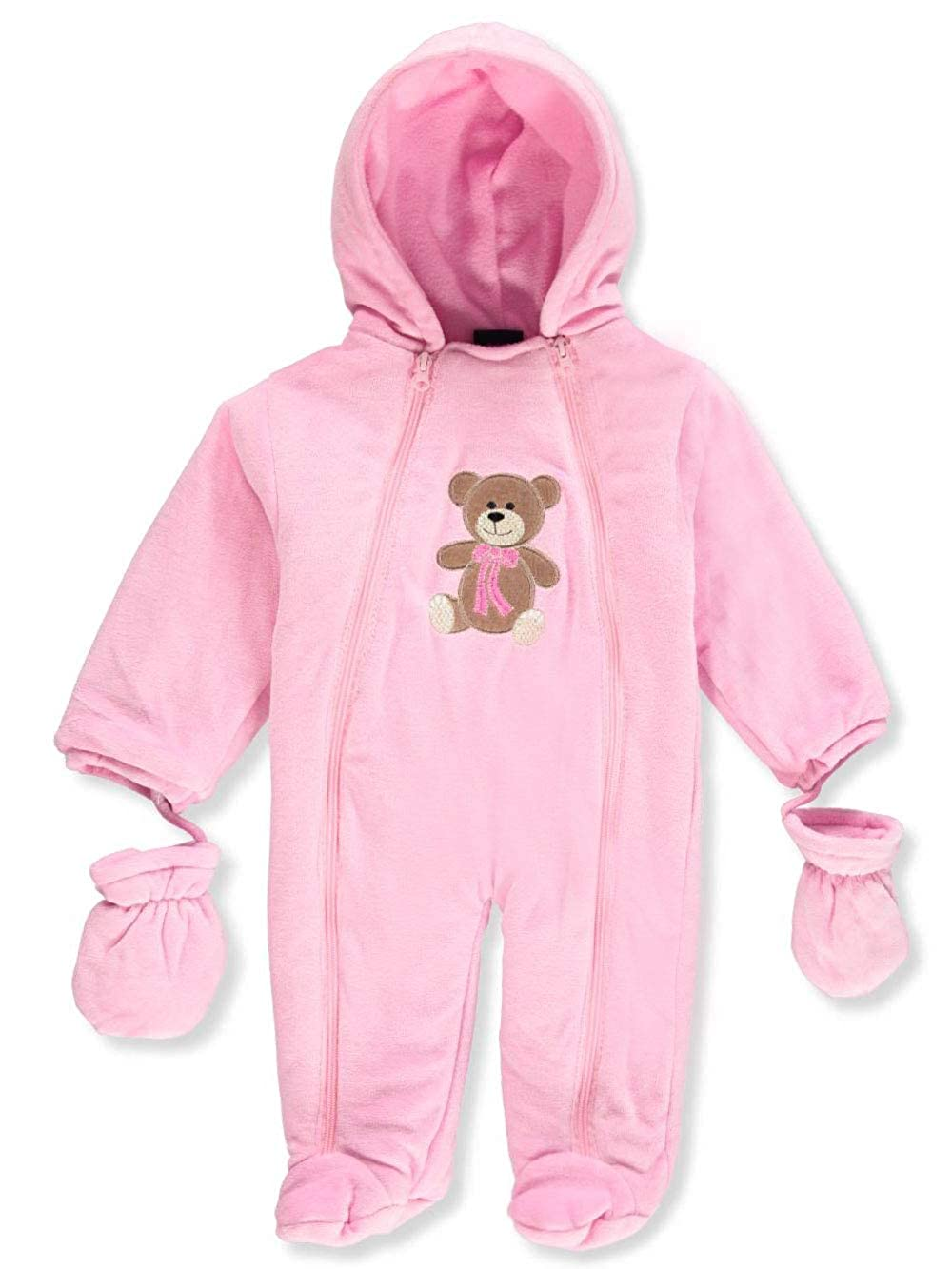 Sweet & Soft Baby Girls' Hooded Pram Suit with Mittens