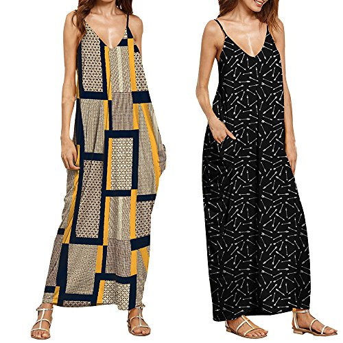 Hotkey Clearance Women Dresses On Sale Printing Cocktail Party Evening Maxi Dress Beach Sundress for Summer (M, Yellow)