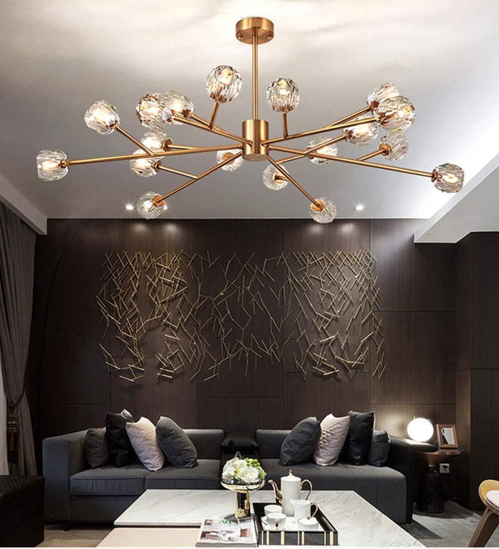 Efperfect Modern Sputnik Chandelier 18-Light Crystal Pendant 43 LED Ceiling Light Pendant, Cut Crystal with G9 LED Bulbs Gold