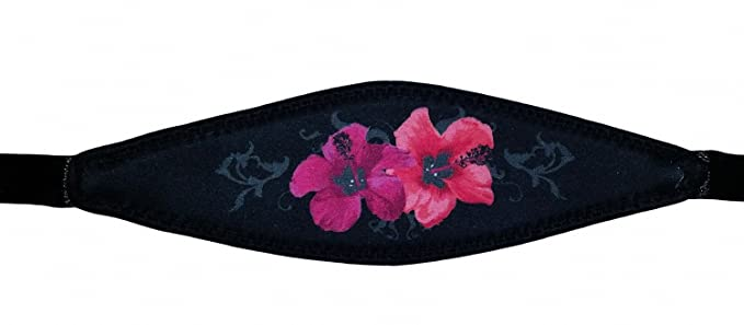 Hawaiian Flower Print Slap Strap for Scuba or Snorkel Mask