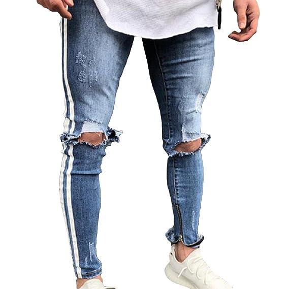Juleya Pantalones Vaqueros Pitillo Agujero Hombres Pantalones ...