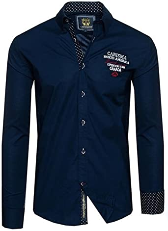 CARISMA - Camisa casual - para hombre azul marino M: Amazon.es: Ropa y accesorios