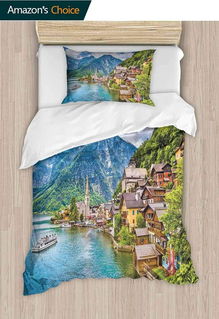 Wanderlust Printed Quilt Cover and Pillowcase Set, Hallstatt Mountain Village With Lake Hallstatt in the Austrian Alps Countryside, Print, Decorative Quilted 2 Piece Coverlet Set with 1 Pillow Shams,