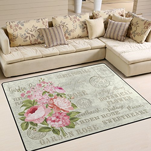 ALAZA Shabby Chic Floral Flower Area Rug for Living Room Bedroom 5'3 x 4'
