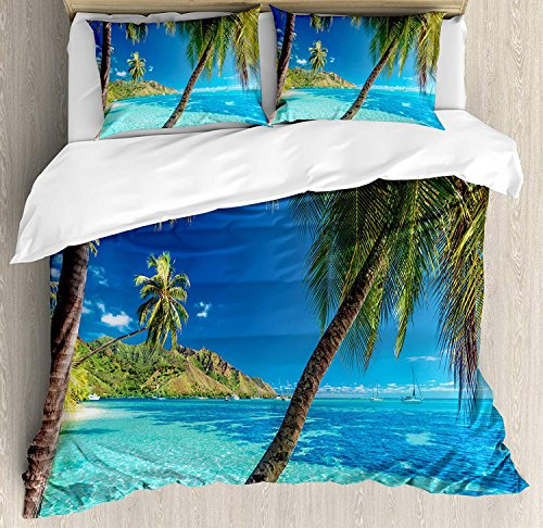 (Ocean 4 Piece Bedding Set King Size, Image of a Tropical Island with the Palm Trees and Clear Sea Beach Theme Print, Duvet Cover Set Quilt Bedspread for Childrens/Kids/Teens/Adults, Turquoise)