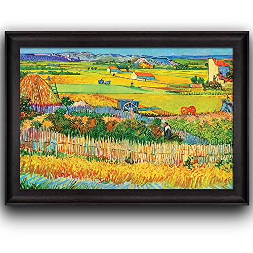 Harvest at La Crau by Vincent Van Gogh Oil Painting Impressionist Artist Framed Art