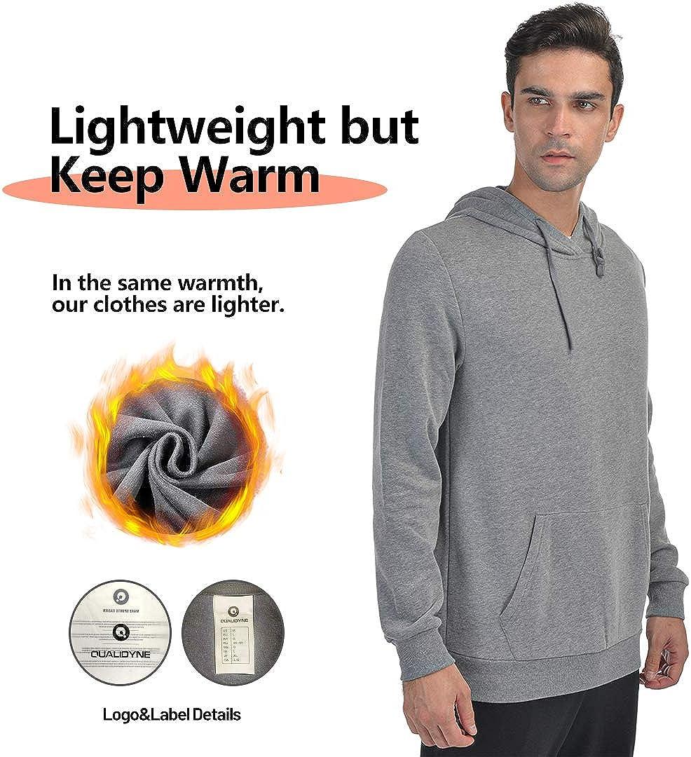 Qualidyne Men's Full Zip Fleece Hoodies Midweight Workout Thermal Sweatshirt Long-Sleeve Athletic Hooded Jacket: Clothing