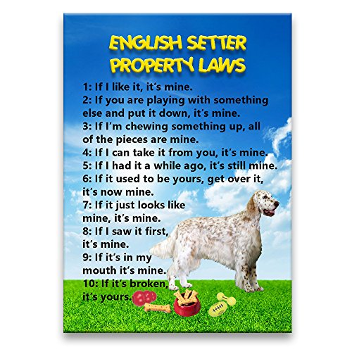 English Setter Property Laws Fridge Magnet English Setter Magnet