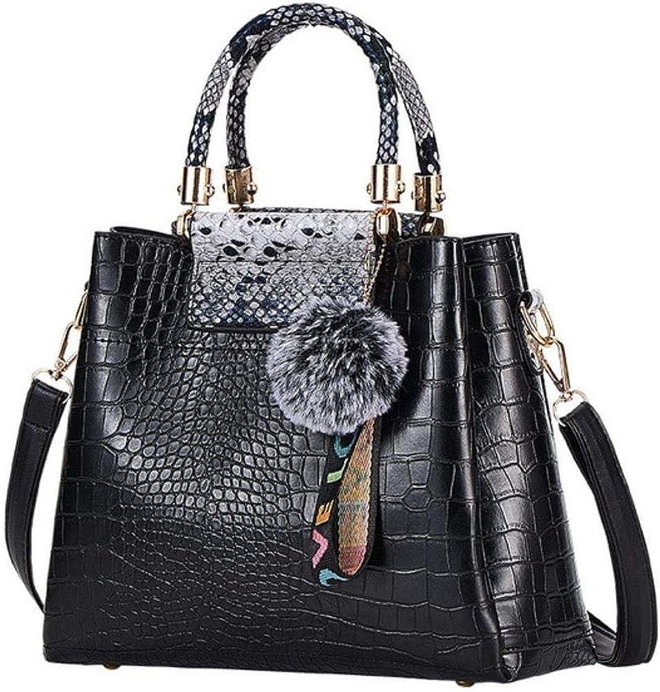 A-Gavvzq 4Ps Bolsos de mujer Set Bolsos de lujo para mujer Bolsos de hombro de cuero de la PU Bolsos compuestos de marca Bolso de mensajero Black Gray