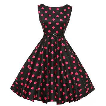 Vestido oscilante para mujer, estilo vintage, años 50, estilo retro, cuello redondo