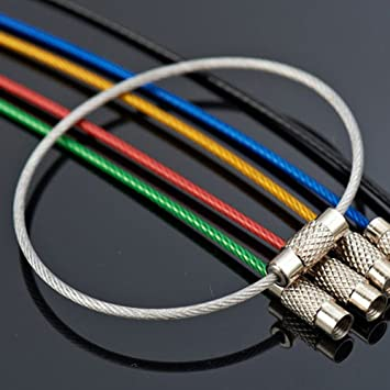 10pcs 15cm Edc Keychain Tag Rope Stainless Steel Wire Cable Loop Screw Lock Tool Sets