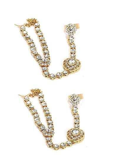Pulsera anillo triángulo oro Bindhani/arnés de mano/tiene phool/HA ...