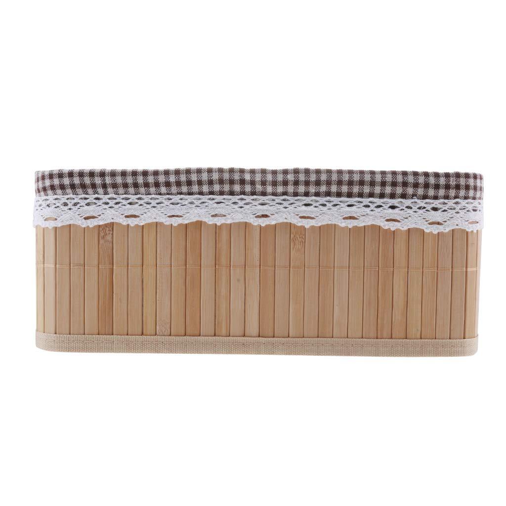 20x16x10cm P Prettyia Caisse de Rangement Bambou Panier de Chambre Boite Organiseur