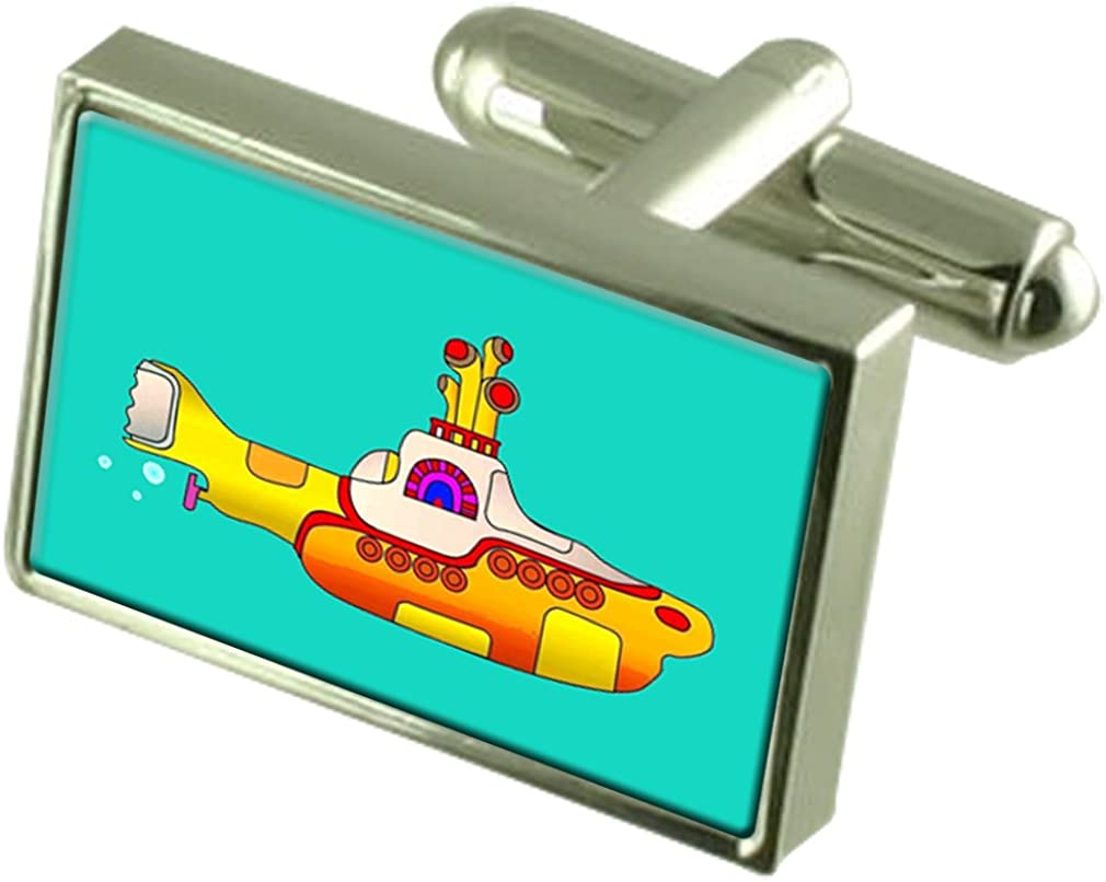 Yellow Submarine Cufflinks Crystal Tie Clip Bar Box Set Engraved
