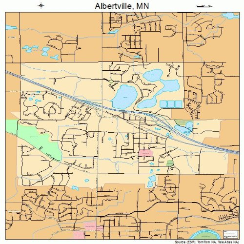 Large Street & Road Map of Albertville, Minnesota MN - Printed poster size wall atlas of your home - Mn Albertville