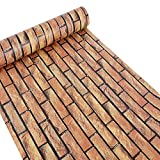 Peel And Stick Wallpaper,Self-Adhesive Modern Faux Brick Stone Textured Wallpaper Roll Brown Multi Brick Blocks Home Room Decoration 17.7'' X 393.7''