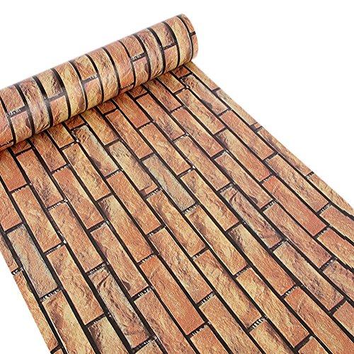 Brown Brick Block - Peel And Stick Wallpaper,Self-Adhesive Modern Faux Brick Stone Textured Wallpaper Roll Brown Multi Brick Blocks Home Room Decoration 17.7