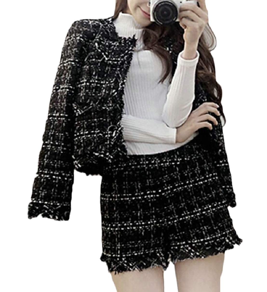 ZXFHZS Women Fashion Two-Piece Sets Plaid Outfits Tweed Pearls Skirt Suit