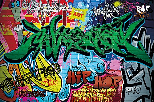 Backdrop City Hip Hop (GREAT ART Poster Graffiti Wall Decoration - Colourful Street Writing Wallpaper Pop Art Mural Style Hip Hop Rap (55 Inch x 39.4 Inch /140 cm x 100)
