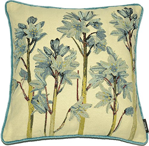 (McAlister Textiles Fern Tapestry | Woven Bluebell Pillow Cover | Blue Green Embroidered 16x16 Throw Cushion Case | Textured Linen, Crewel Needlepoint Plant Leaf | Nature Botanical Accent Decor)