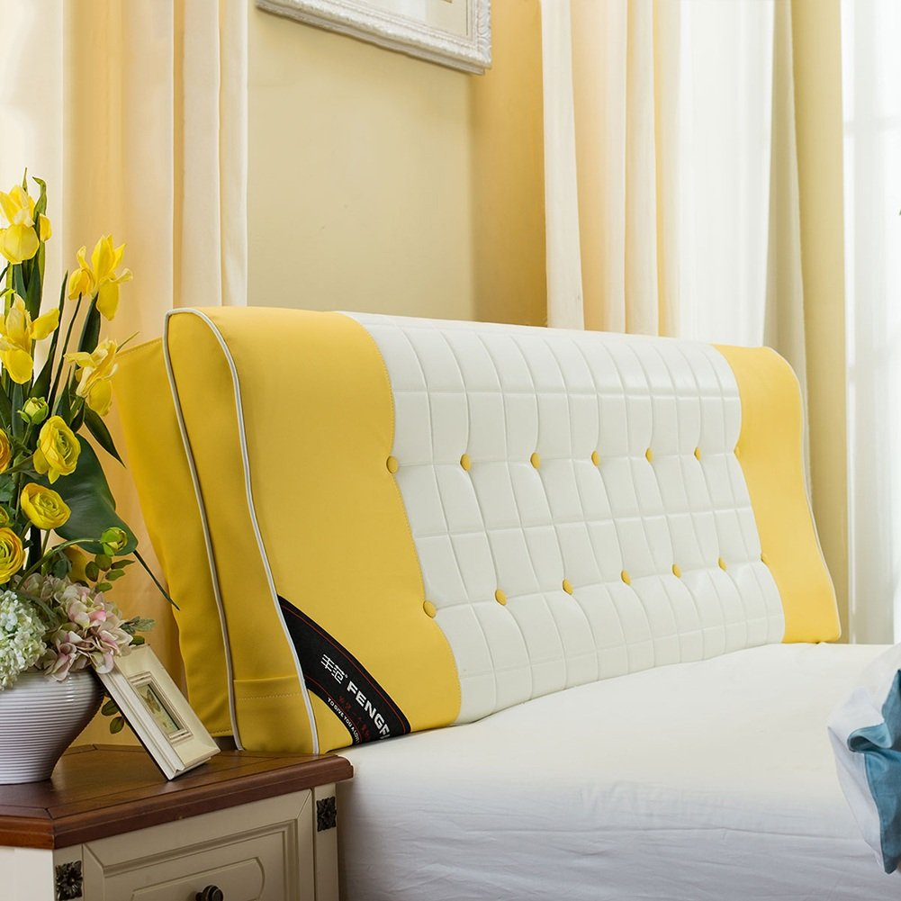 Yellow With headboard-200cm WENZHE Upholstered Fabric Headboard Bedside Cushion Pads Cover Bed Wedges Backrest Waist Pad Continental Soft Case Home Bedroom Pillow Sofa Large Back Multifunction Simple Modern, There Is Headboard   No Headboard, 4 colors, 10