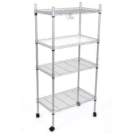 JS HANGER 4 Tier Adjustable Wire Shelving Rack Rolling Storage Shelf, Silver