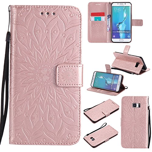 Price comparison product image Galaxy S6 Edge Plus Wallet Case, A-slim(TM) Beauty Sun Pattern Embossed PU Leather Magnetic Flip Cover Card Holders & Hand Strap Wallet Purse Cover Case for Samsung Galaxy S6 Edge Plus - Rose Gold