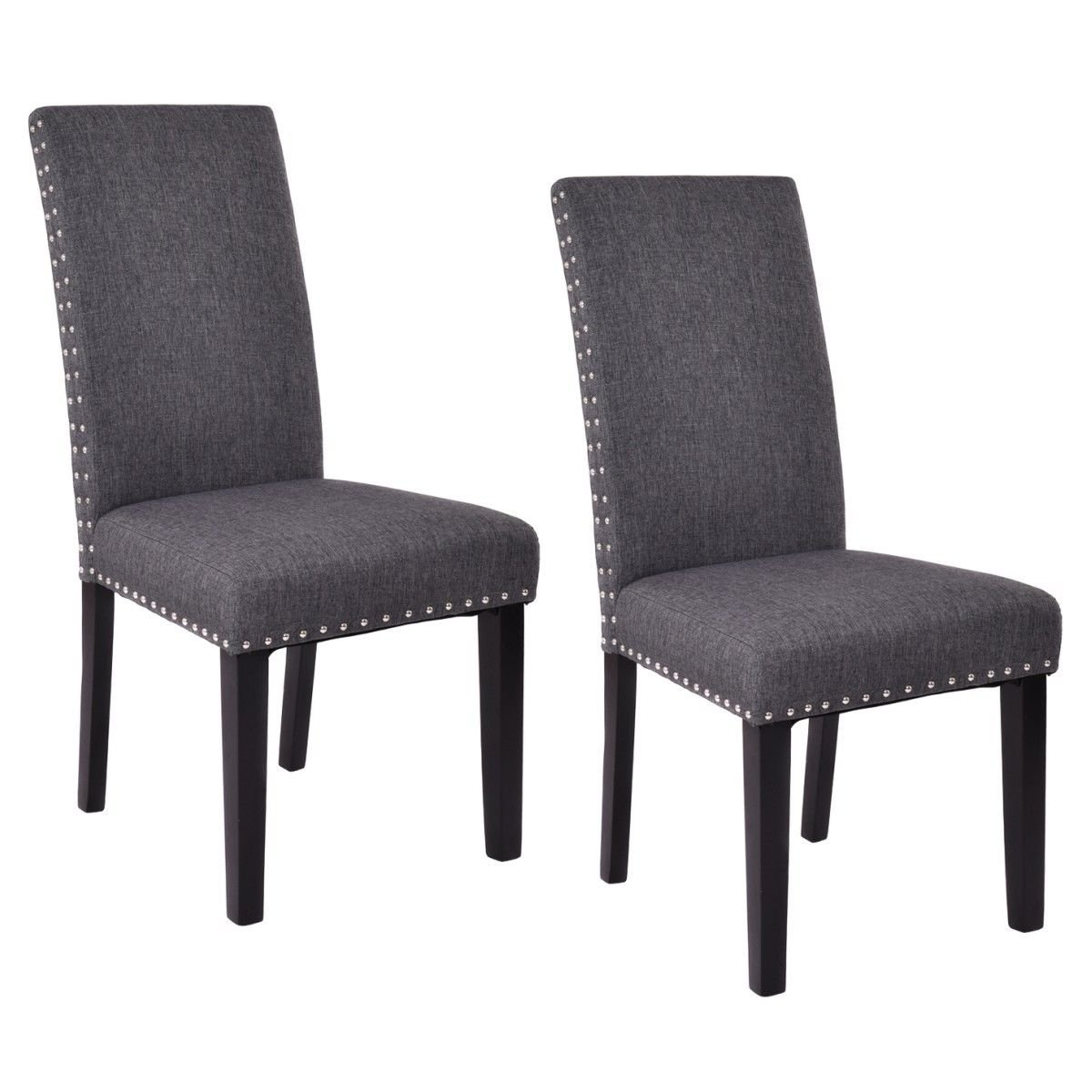 Giantex Set of 2 Dining Chairs Fabric Upholstered Armless Accent Home Kitchen Furniture (Gray)