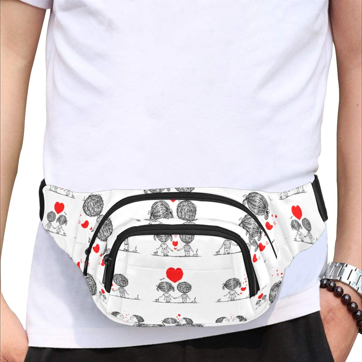 Couple In Love Together Valentine Fenny Packs Waist Bags Adjustable Belt Waterproof Nylon Travel Running Sport Vacation Party For Men Women Boys Girls Kids