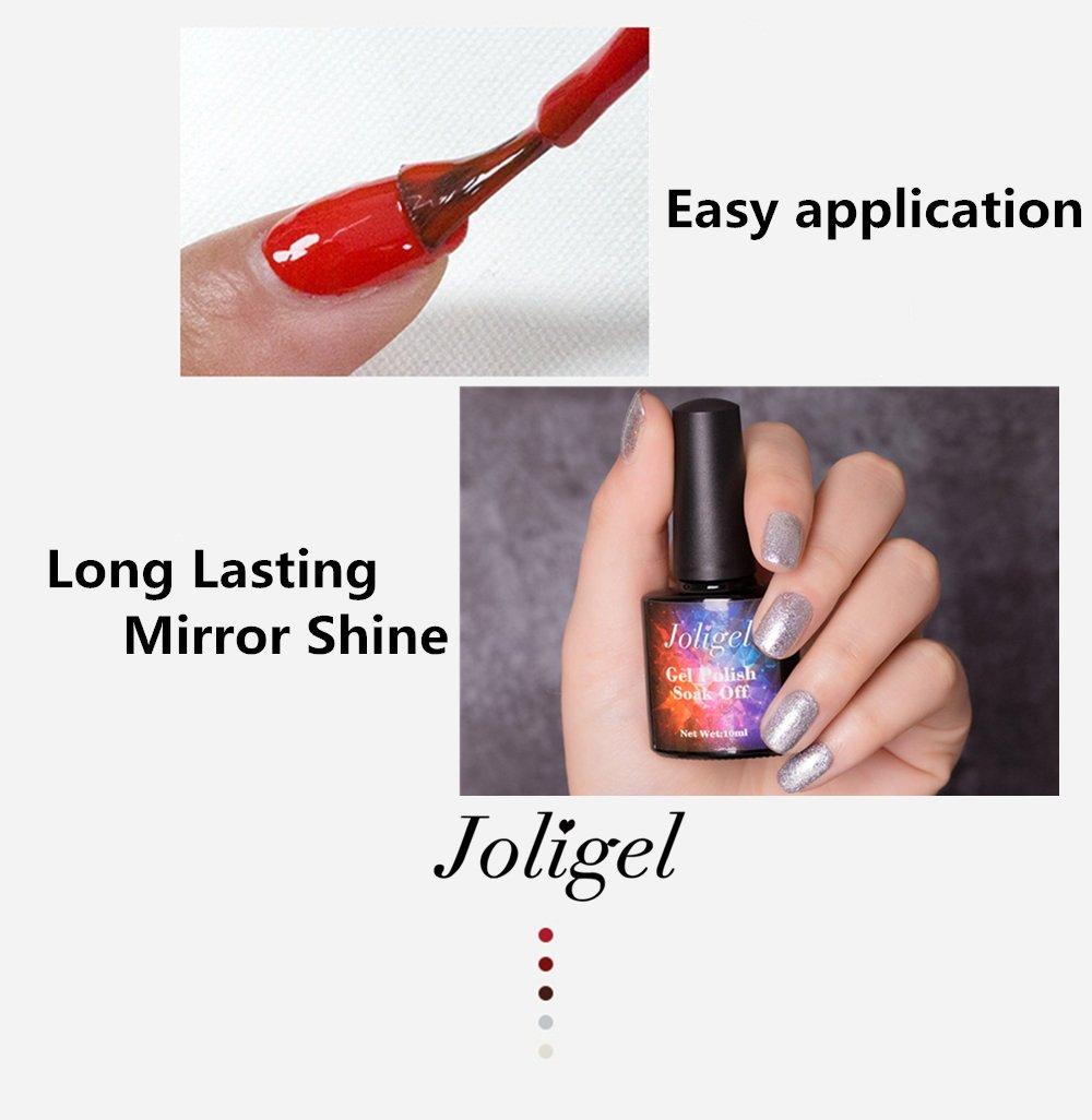 Joligel Esmalte Semipermanente para Uñas Gel UV LED Shellac Manicura Pedicura Permanente Soak Off, Azul Vendimia con Purpurinas Brillos: Amazon.es: Belleza
