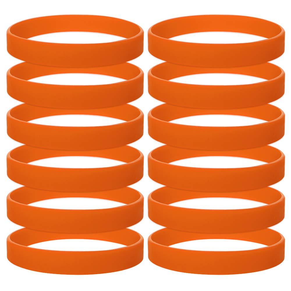 GOGO 12 PCS Silicone Wristbands for Kids, Rubber Bracelets, Party Favors-Orange
