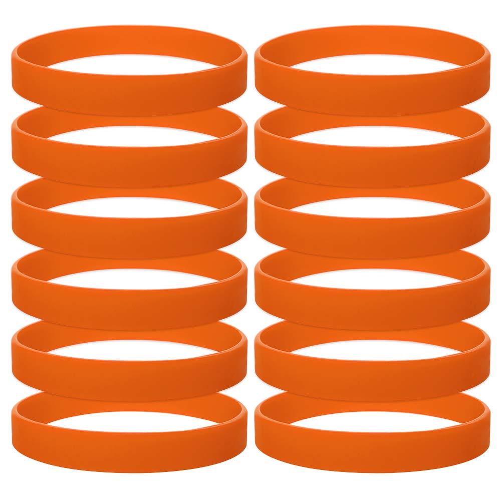 GOGO 12 PCS Silicone Wristbands, Adult Rubber Bracelets, Party Accessories-Orange