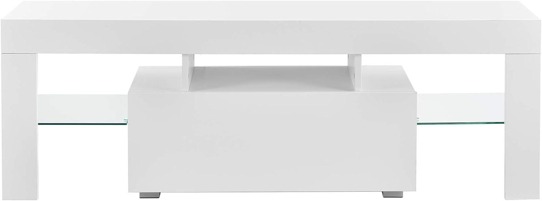 en.casa Bianco Mobile Porta TV con Illuminazione LED a Colore Variabile con Telecomando 130 x 35 x 45 cm Supporto TV con Cassetto e Ripiani Portaoggetti