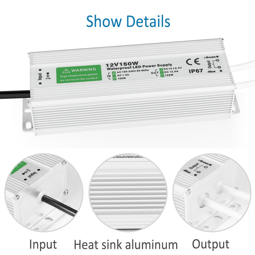 150W LED Power Supply Waterproof IP67 Driver Transformer 120 to 12 Volt DC Output, AC/DC 12V 12.5A Switching Power Supply by LEDMO (Image #4)