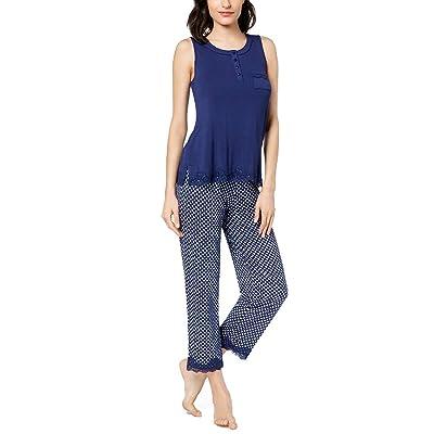 Alfani Womens Plus Size Printed Lace-Trim Pajama Set: Ropa y accesorios
