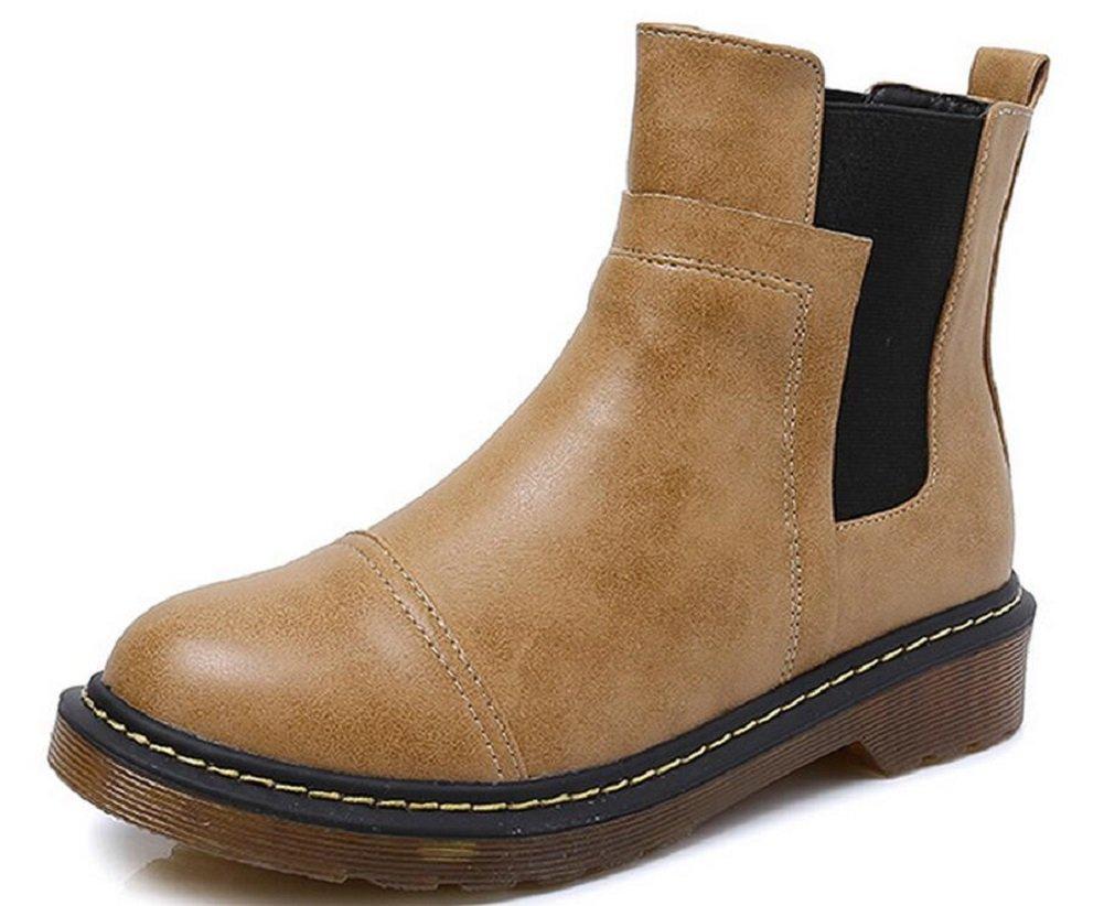 JiYe Women's Leather Elastic Band Low Heel Ankle Boots,Yellow,10 US-Women