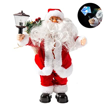 littlegrass 12in christmas santa claus figure standing santa clause electric santa claus toy singing with lights