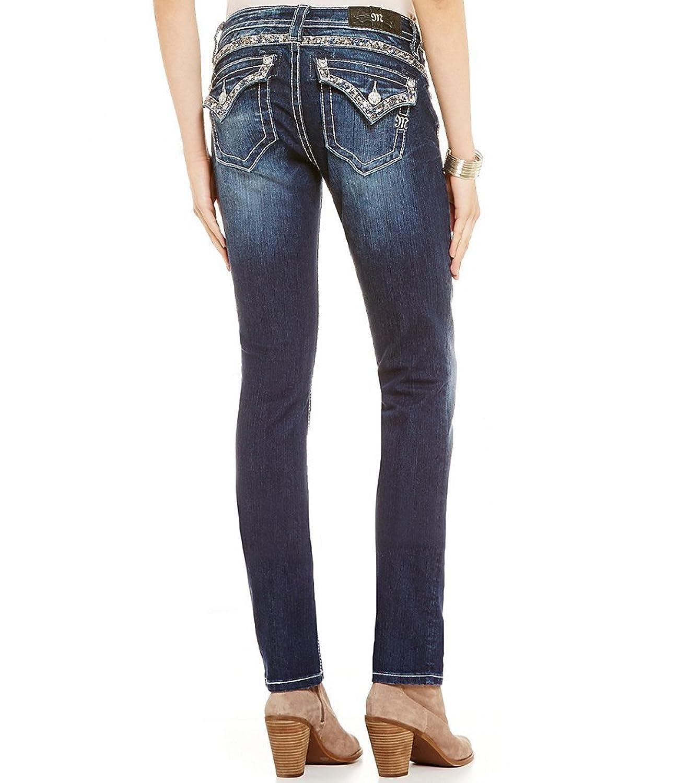 Miss Me Jeans Women's Sparkle Yoke Mid-Rise Straight Leg Medium Wash Extended Sizes