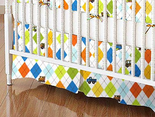 SheetWorld - Crib Skirt (28 x 52) - Argyle Transport - Made In USA by SHEETWORLD.COM