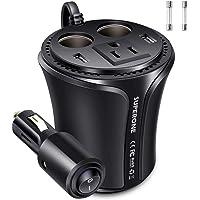 Superone 150 W inversor de corriente de coche DC 12 V a 110 V CA, cargador de coche dual USB y adaptador de encendedor…