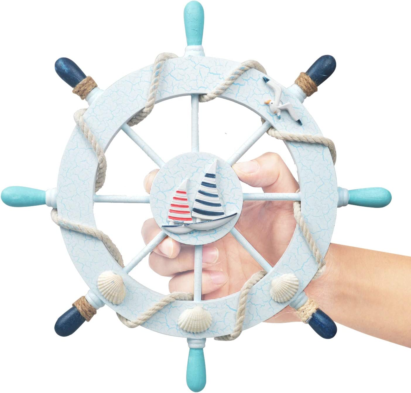 Fangoo 28 CM Wooden Ship Wheel with Rope Nautical Wooden Boat Ship Steering Wheel Rudder Wall Decor Door Hanging Ornament 4