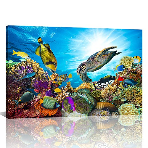 Tropical Fish Paintings - Large Wall Decor Colorful Sea Underwater World Coral Sea Turtle and Tropical Fish Painting Gallery Wrapped Ready to Hang Picture Artwork for Living Room Kids Nursery Room 28